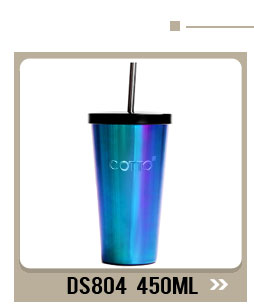 473ML/16OZ Food grade stainless steel double wall metal coffee mugs with straw