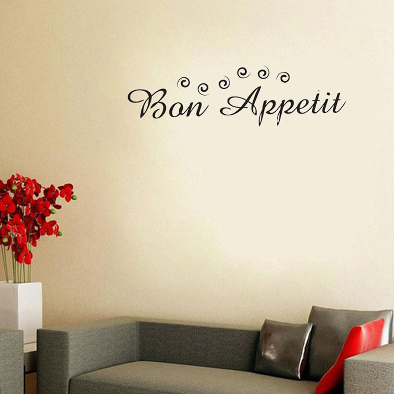Bon Appetit French Enjoy Your Meal Vinyl Art Wall Sticker Home Decor Adhesive Waterproof For Dining Room