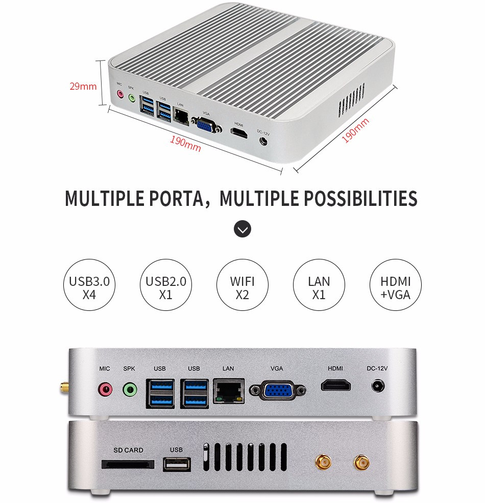 Core i5 7200U i3 7100U mini pc Intel HD Graphics620 14 nm Wind.ows 10 Barebone 4K HTPC Desktop Computer
