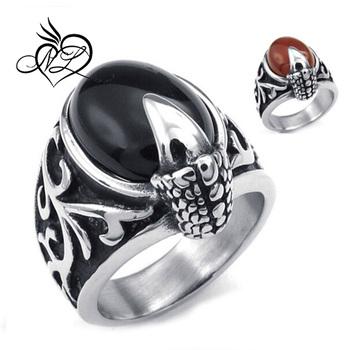 mens stainless steel big black diamond ring gothic dragon claw black silver