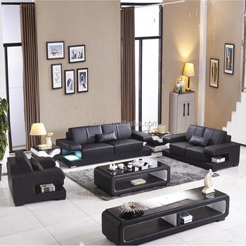 I Shape Led Light Leather Sofa With Storage Box China Online 908