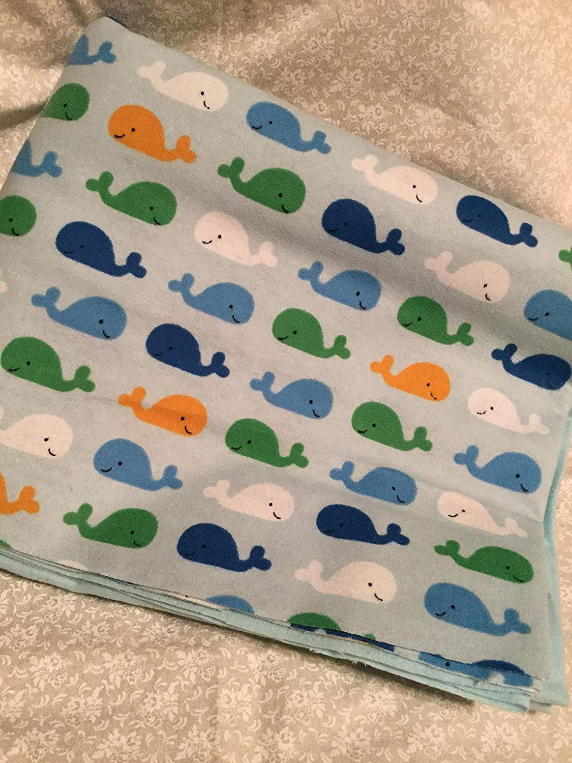 Happy Whaless Baby Blanket Oversize Double Sided Lap Blanket