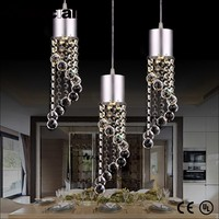 stainless steel base k9 crystals led ceiling chandelier pendant light