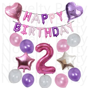 Happy 2nd Birthday Banner Balloons For Baby Boy Girl Party Decorations Kit