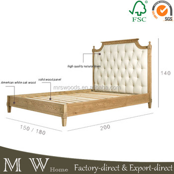 French Country Oak Linen Fabric Button Tufted Upholstered King Bed ...