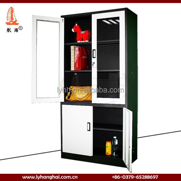 Glass door display heavy duty steel sheets industrial metal storage cabinets for office
