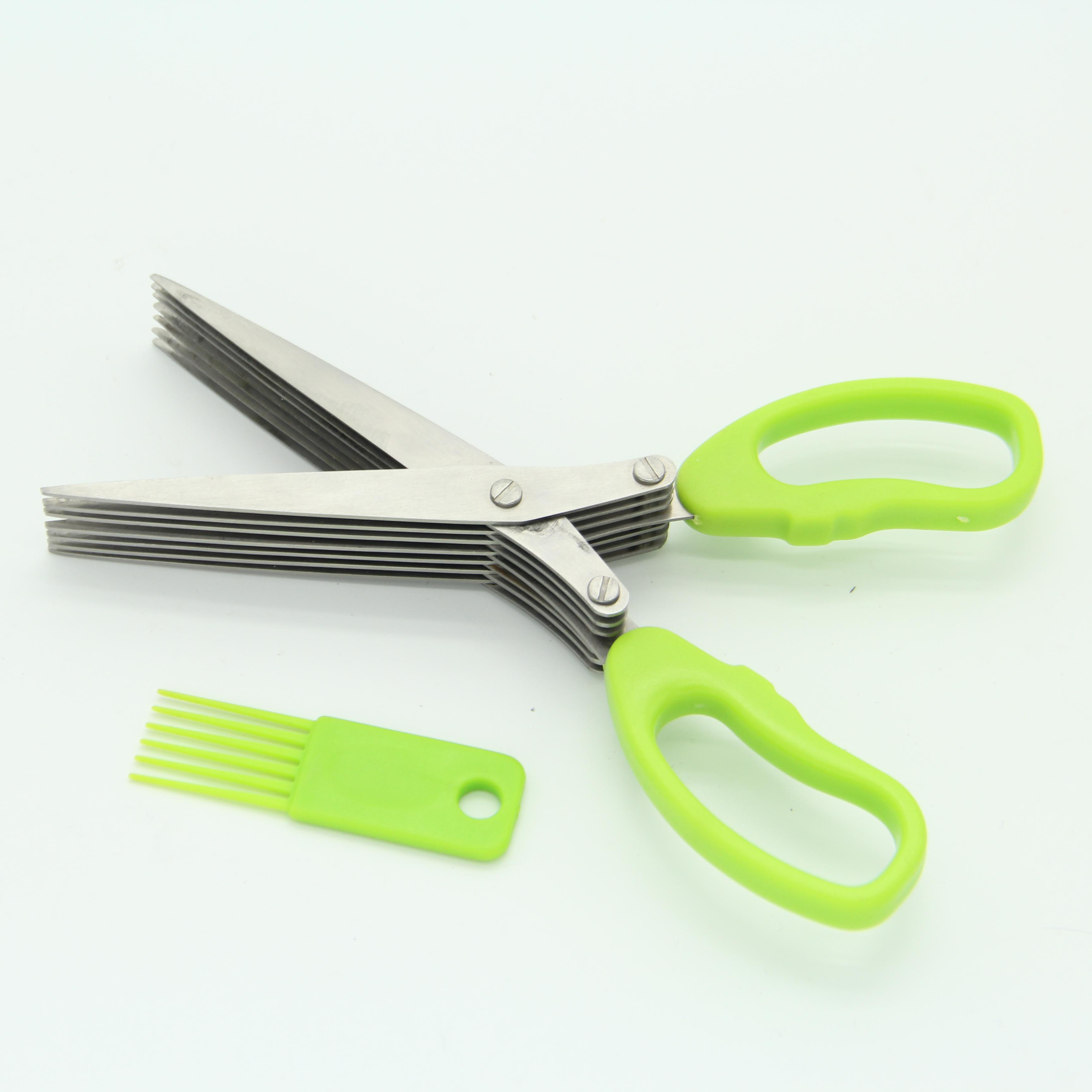 Professional Multi-Function Kitchen Shear Herb Scissors Set 7 Blades With Cleaning Comb And Cover