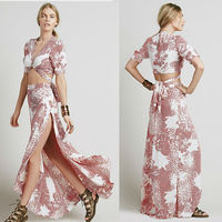 Short sleeve print wrap maxi skirt and top two piece dress for woman, bohemian skirt fashion