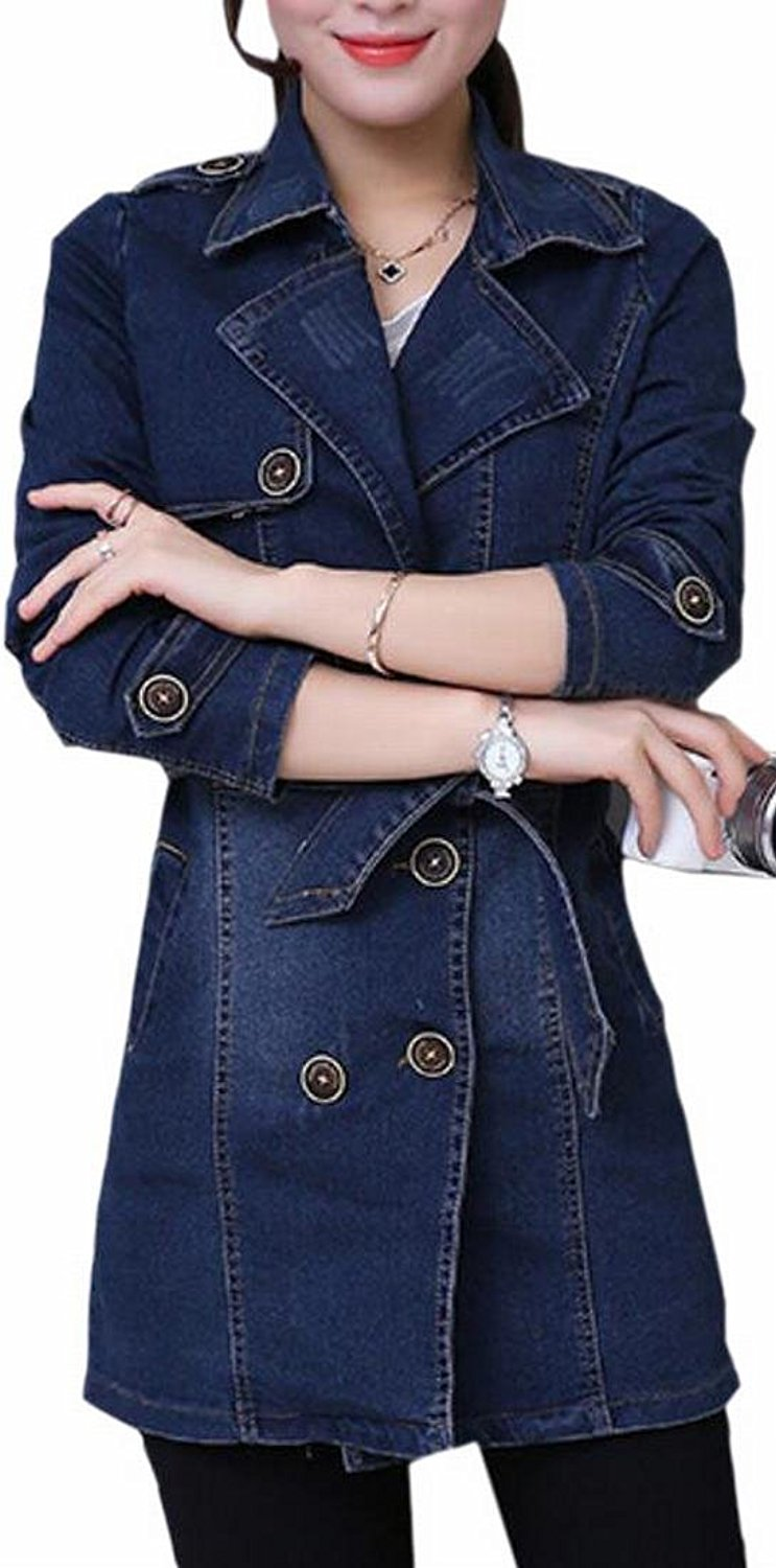 ONTBYB Women's Casual Double Breasted Lapel Jean Denim Jacket Overcoats