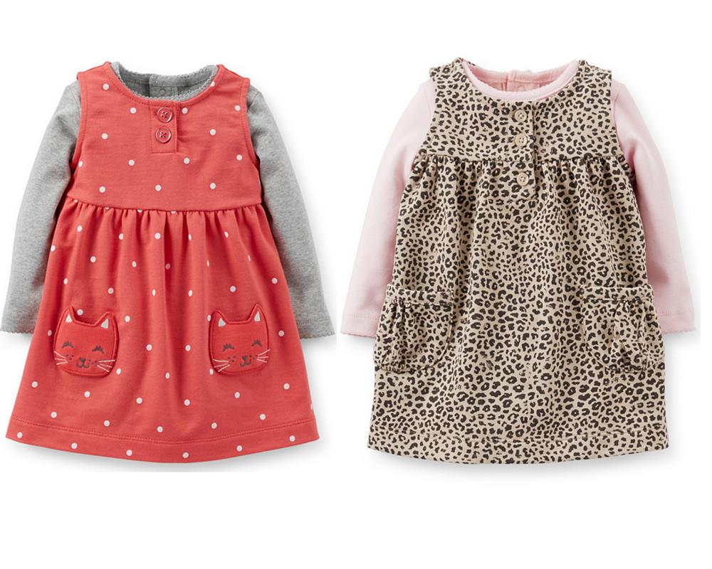 22a52f48f21 Get Quotations · carters baby clothing 100% cotton cartoon baby girls dress  vestidos infantis sleeveless leopard summer dress