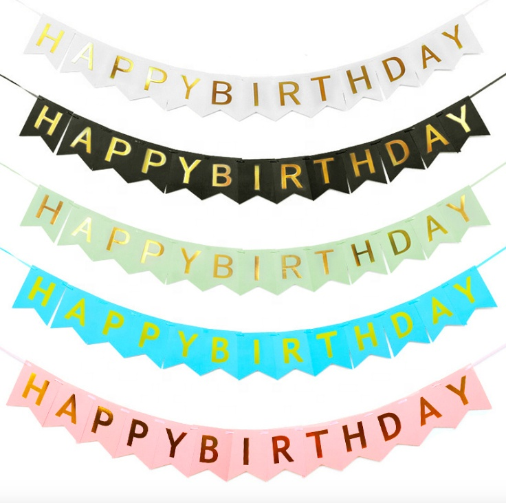 Good price pull out banner pen birthday bunting flag