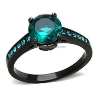 Blue Stone Wedding Ring, Blue Zircon AAA CZ Black Stainless Steel Engagement Ring Women's