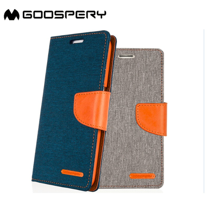Goospery Canvas flip cover leather phone case for iphone 7 wallet phone case
