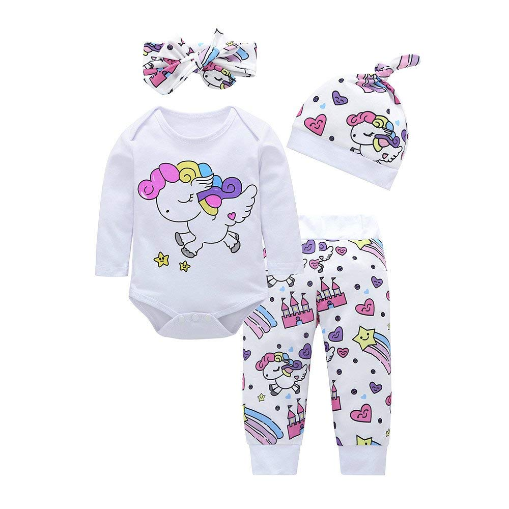 ❤️Mealeaf❤️ Baby Boys and Girls Clothes with 4pcs Baby Girls Boys Clothes Set Cartoon Romper+Pants+Hat+Headband Outfits (0-6 Months Old, White)
