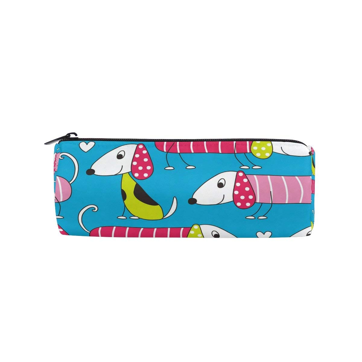 WOZO Colorful Puppy Pug Dog Pen Pencil Case Makeup Cosmetic Pouch Case Travel Bag