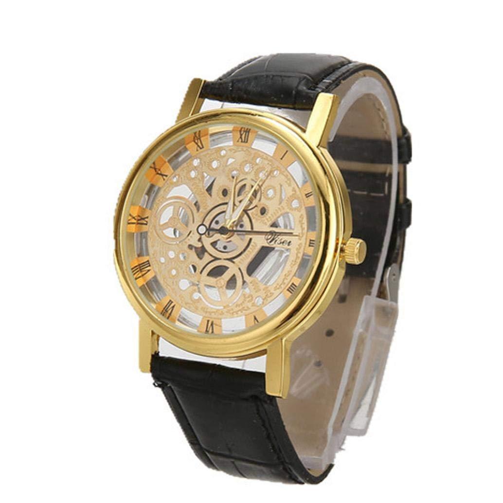 Clearance✿{Business Watch}Mens Luxury/Fashion/Analog/Quartz Roman Numeral Gold Wrist Watch Zulmaliu