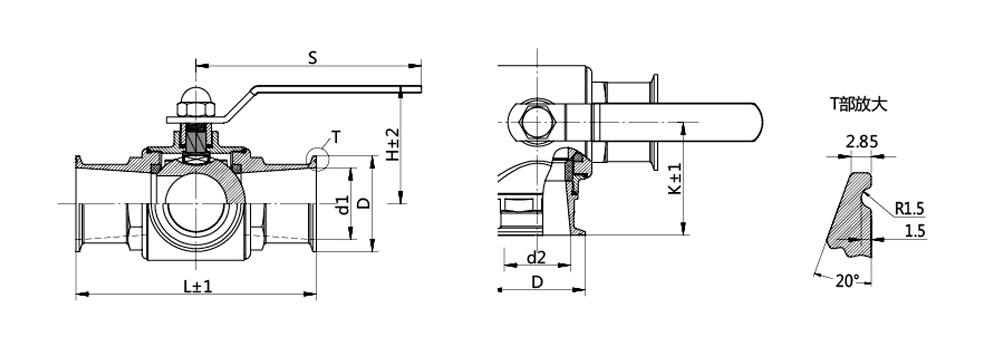 stainless steel sanitary weld three-way ball valve used to material transfer controlling
