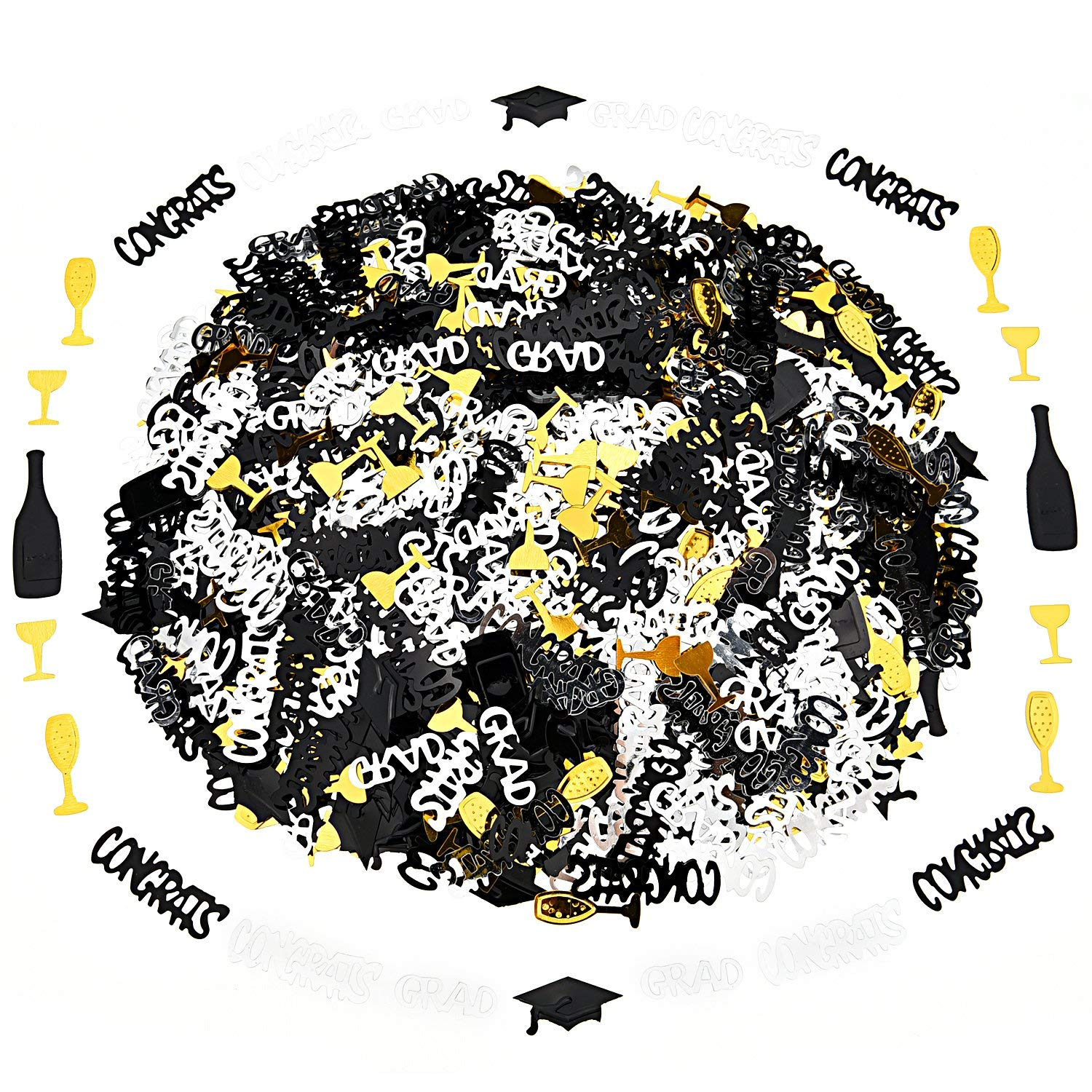 6 Pack Confetti Graduation Party Decoration -Graduation Hats, Balck CONGRSTS, Silver CONGRSTS, Gold Wine Glass, Champagne and Gold CRAD, Graduations Decorations 2018