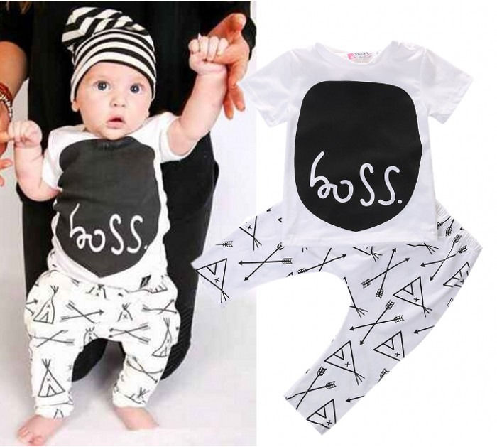 Newborn 2016 toddler baby boy clothing sets summer 2-piece outfits print t-shirt and pants black&white lovley boy clothes sets