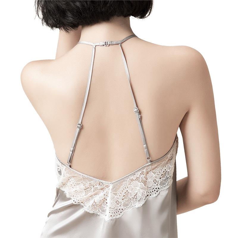 b55b42a230 2019 Women 100% Pure Silk Nightgowns Lace Sleepwear Halter Night ...