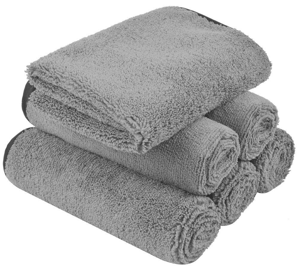 KinHwa Microfiber Auto Detailing Towels Dual Pile Terry Weave Car Cleaning Towels Ultra Soft Professional Car Wash Drying Towels Scratch Free 400gsm 16Inch x 16Inch 6 Pack Grey