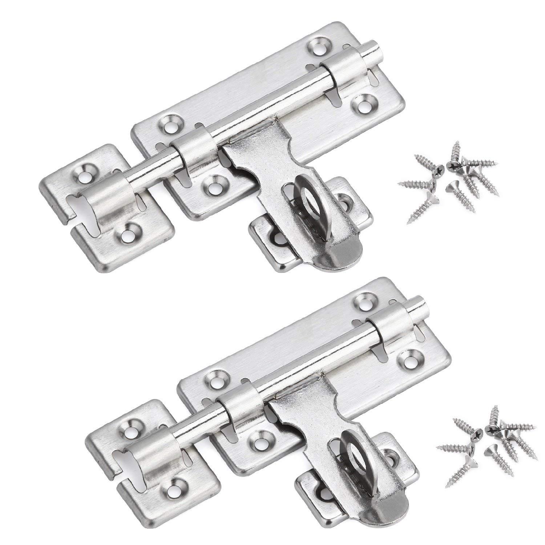 Creatyi 2 PCS Stainless Steel Left or Right Locking Door Latches Sliding Lock Barrel Bolt