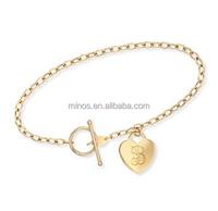 14kt Yellow Gold Heart european charm bracelet new design jewelry