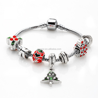 Red, Green, Blue, Turquoise Rhinestone Charm Bracelet With Christmas Tree Charm