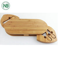 Eco-friendly 2018 New Product Material Kitchen Wooden Cheese Cutting Board With Knives Set