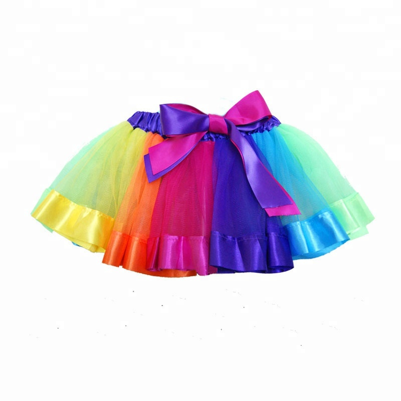 Multi color Baby Girl's Rainbow TUTU Skirt Kids Girl Princess Dance Tulle Skirts