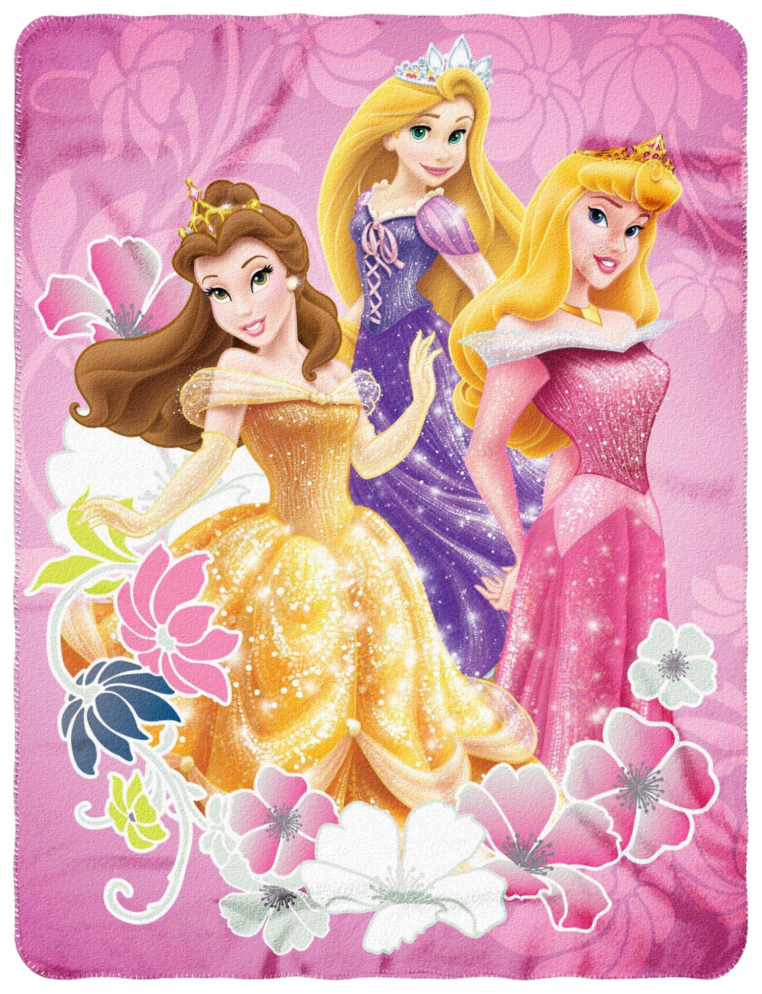 "Disney Princesses ""Shining Flowers"" Fleece Throw Blanket by The Northwest Company, 45"" x 60"""