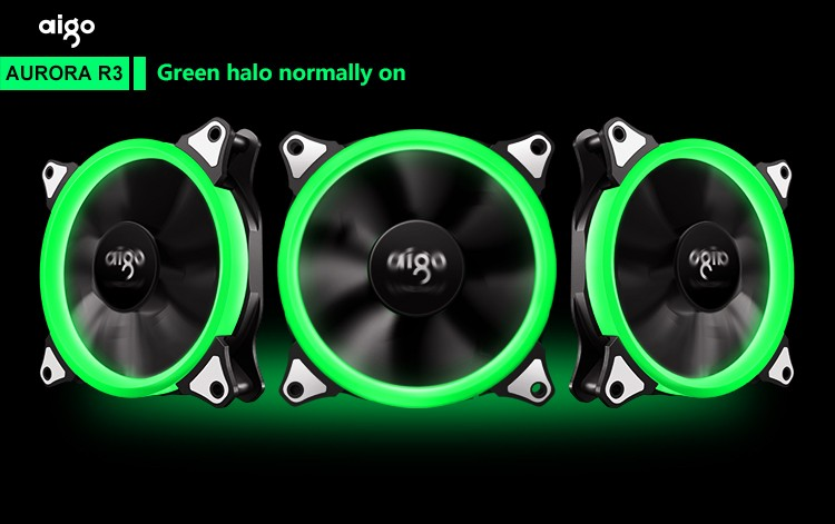 aigo AURORA R3 with 3 RGB Ring Fans and Controller 12 cm computer case cooling fan