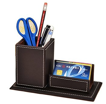 Desktop organizer leather magnetic pen holder pencil holder with desktop organizer leather magnetic pen holder pencil holder with business card stand set storage box officice colourmoves