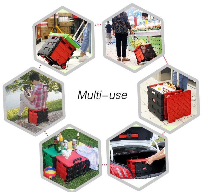Quick Grocery Super Smart Go Pack Roll Elderly Travel Folding Chair Shopping Cart Handle