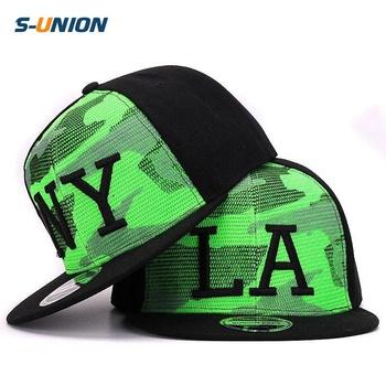 Fluorescent hijau mesh polyester Snapback Camo 3D LA NY hip hop topi  tagihan datar topi baseball ddc0073f2f