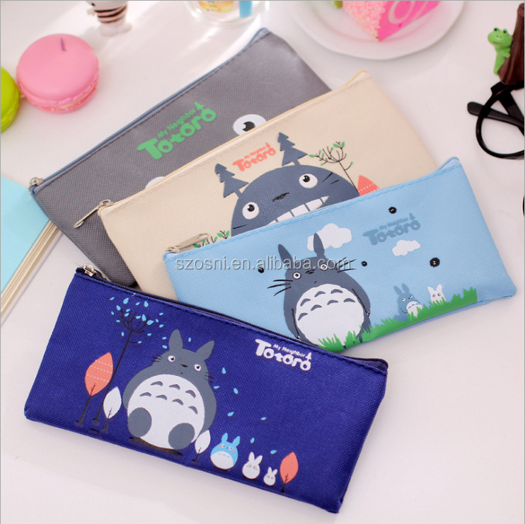 Osni wholesale carton Simple printing pouch large capacity student & child canvas cotton oxford pencil bags