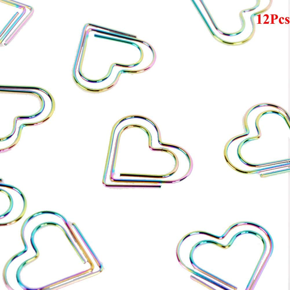 Trycooling Metallic Rainbow Color Metal Heart Shaped Paper Clips Creative Bookmarks Cute Card File Note Clips for Office School Supplies