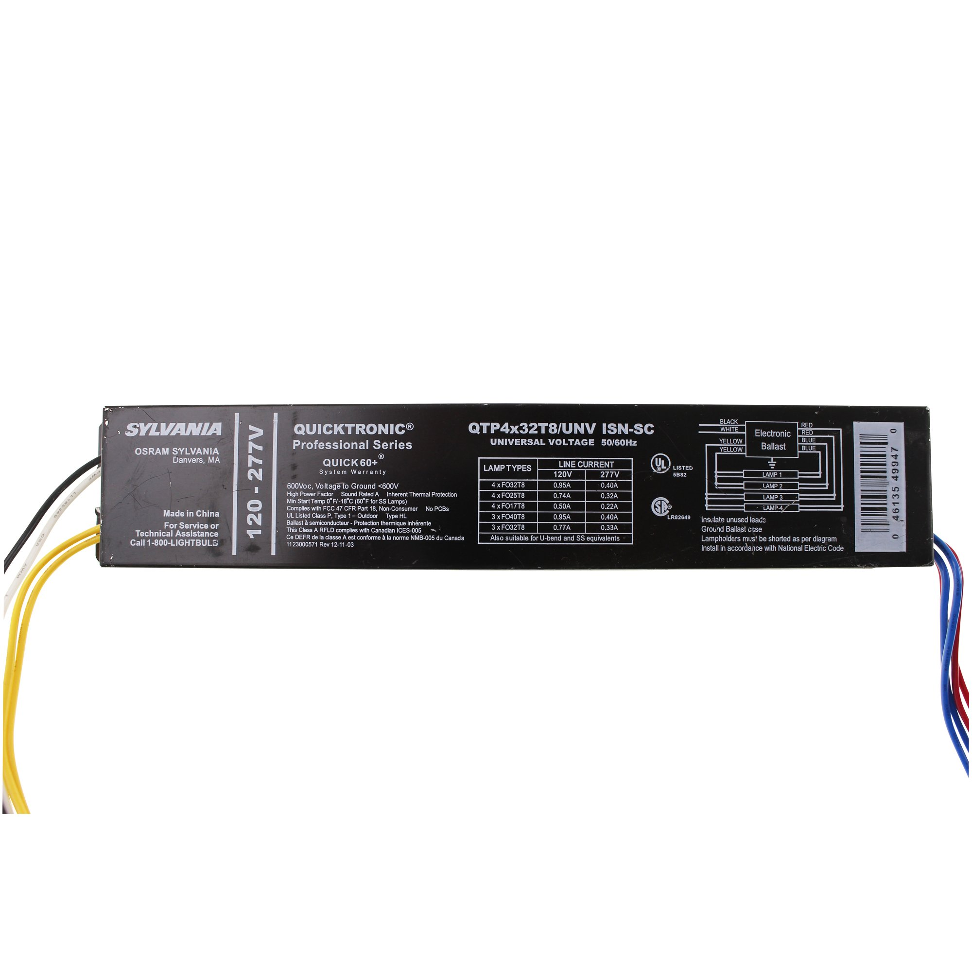 Get Quotations · OSRAM SYLVANIA QTP4x32T8/UNV-ISN-SC (49947) 4 FLUORESCENT  Ballasts-