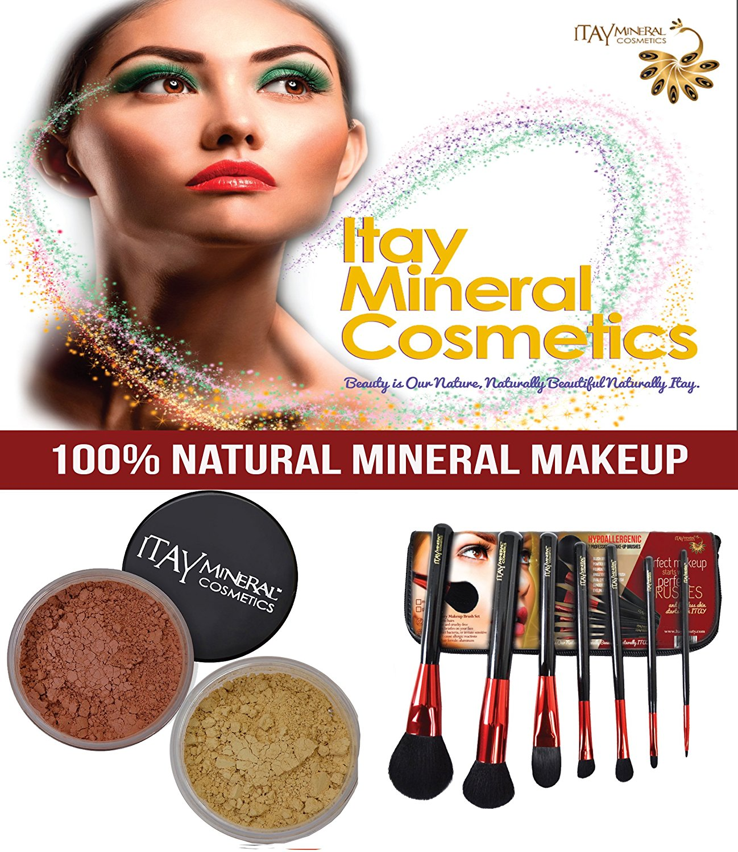 "Bundle 3 Items: Itay Mineral Cosmetics Luxury Set with 7-piece Brush Set (Gloss)+ Mineral Foundation Mf4 ""Golden Nutmeg"" Gold Undertone + Mineral Blush Mb6 Blush"