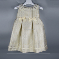 Fashion Children golden jacquard beads and rhinestones neck decoration two bows Girls party Dress