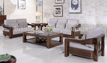 American Style Black Walnut Furniture Sofa Set Le Solid Wood Living Room Fabric