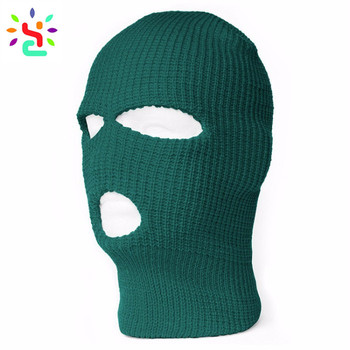 Custom 3 Hole Ski Mask Warmer Full Face Mask Knitted Balaclava Winter  Beanie Hats Private Label aaa6d6c56d7
