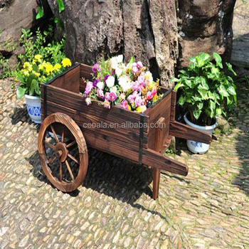 Wooden Wheelbarrow Country Cart Plant Stand Yard Garden Planter