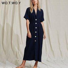 Женское длинное платье-футболка WOTWOY, белое хлопковое платье с поясом длиной до щиколотки и треугольным вырезом, свободная одежда, лето 2020(Китай)