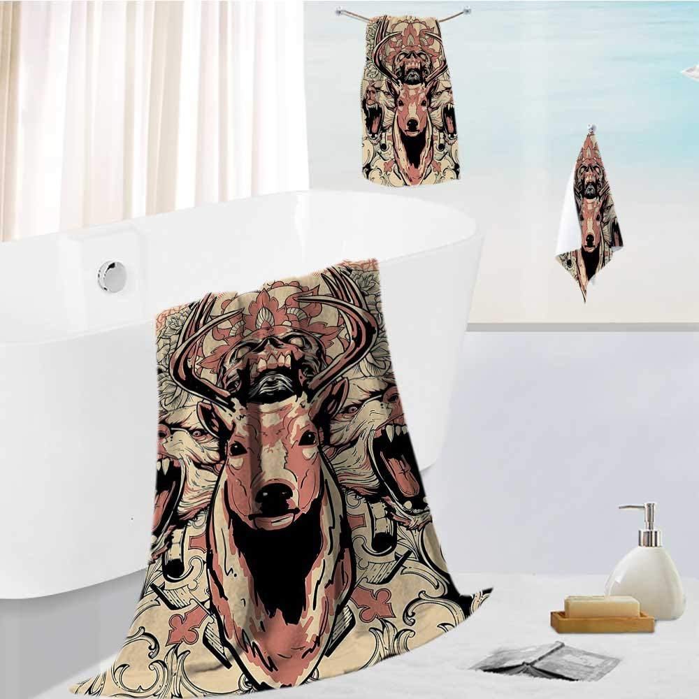 "Miki Da simple luxury superior bath towel set Artsy of Skull and Wolves with Design Antler Black Pink for Hotels, Home, Bathrooms 13.8""x13.8""-11.8""x27.6""-27.6""x55.2"""