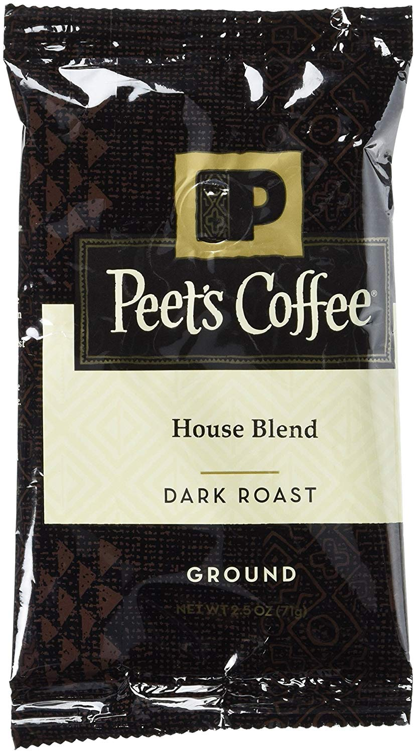 Peet's Coffee Ground Dark Roast Coffee, House Blend, 2.5 Ounce Portion Packs (Pack of 18) Bright, Lively, and Balanced Dark Roast Blend of Latin American Coffees, Deep Roasted, Hint of Spice