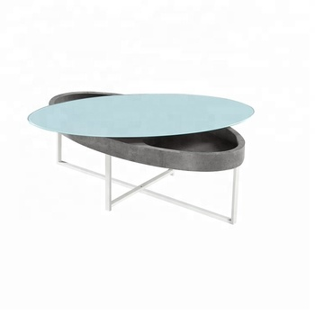 Modern Oval Coffee Table Gl Top Cross Metal Legs Luxury Product On