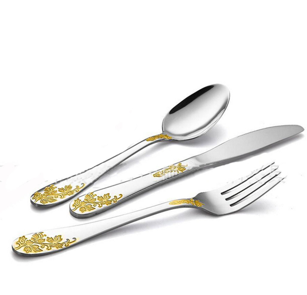 gold plated tableware stainless steel top quality cutlery 3 piece spoon knife and fork set in. Black Bedroom Furniture Sets. Home Design Ideas