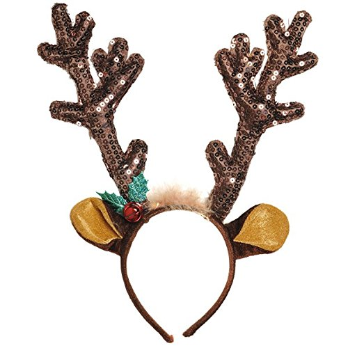 """Amscan Fun-Filled Christmas & Holiday Party Reindeer Antler Headband, Brown, Fabric, 13 1/2"""" x 10 1/2"""", Pack of 1"""