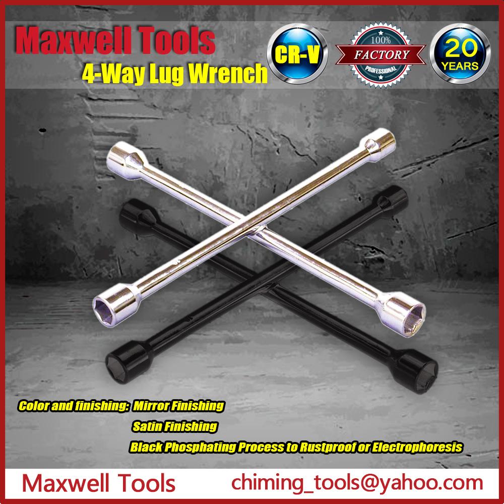 Universal 4-way Lug Wrench X Cross Aim Tire Wrench Spanner Repair ...